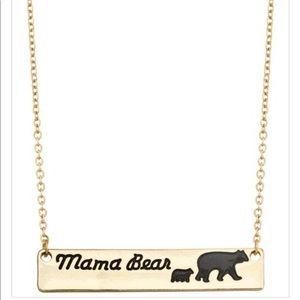 Gold Tone Mama Bear Pendant Necklace